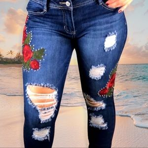 Cred NY Embroidered & Distressed Rose Jeans, 5/27